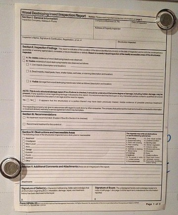 Npma-33 termite inspection form